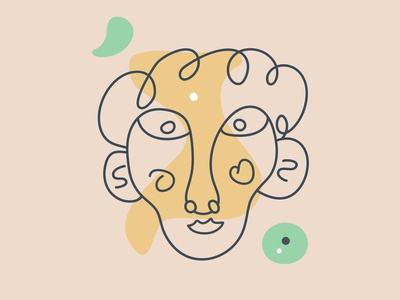 Abstract face fashion icon person avatar logotype logo guy shape unisex male female man abstract face people character flat vector illustration design