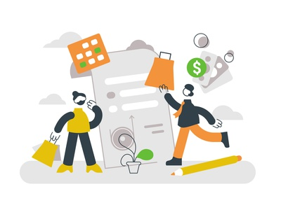 Buy now pay later concept office team buy now pay later buying shopping ecommerce phone money cash buyer concept man business people business people character flat vector illustration design