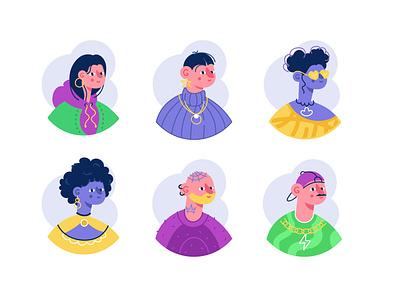 Avatars icon set avatar icon avatars design people face account member social woman man female girl boy portrait character flat vector illustration
