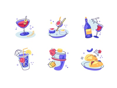 Food and drink icons set bottle glass ice plate taco wine cafe cocktail bar drink food set icons icon line outline design flat vector illustration