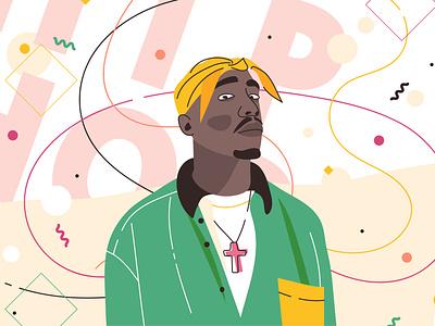 2pac hand-drawn cartoon banner christ mustache bandana rap man portrait art gangster african-american hip-hop 2pac people character flat vector illustration design