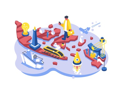 Startup and infrastructure in Indonesia smart city data hero isometry isometric start up startup infrastructure high-speed train subway rocket business indonesia business people people character flat vector illustration design