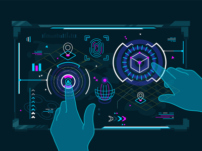 Hands work in augmented reality robotics datascience innovation machinelearning deeplearning sci-fi fantastic futuristic screen touch touchscreen virtual rality vr augmented reality ar character flat vector illustration design