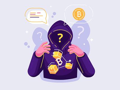 Satoshi Nakamoto - person or persons who developed bitcoin cracker 3d digital money blockchain satoshi nakamoto cryptocurrency anonymous bitcoin person character flat vector illustration design