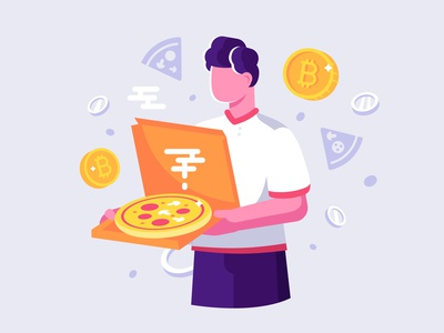 Bitcoin PizzaDay pizza deliveryman money crypto cryptocurrency fast food delivery 22 may pizza bitcoin pizza day bitcoin character flat vector illustration design