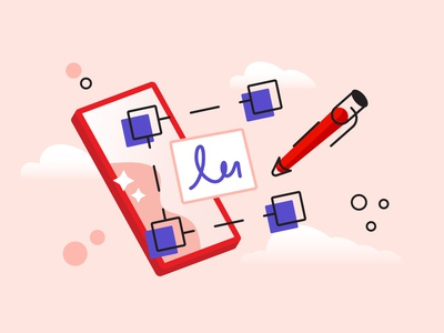 Digital signature pdf adobe icon online data mobile cartoon contract signing line outline finger electronic e-signature digital signture flat vector illustration design