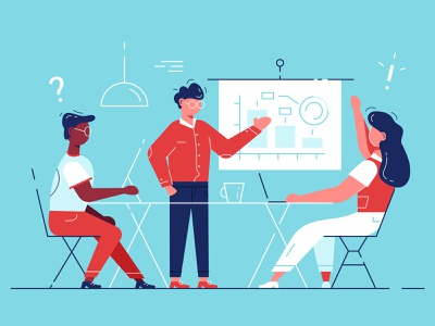 Office workshop. Stuff education. statistic discussion brainstorm analitycs graph human resources teamwork team training manager businessman recruitment hr flat office business people character vector illustration design