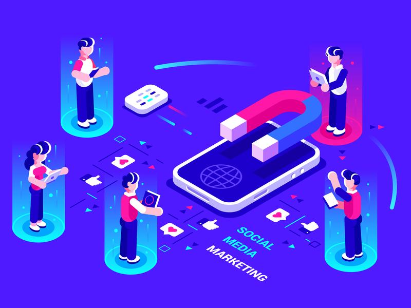 Social media marketing phone graph ui like internet magnet marketing social media isometric application teamwork smartphone flat team office business people character vector illustration design