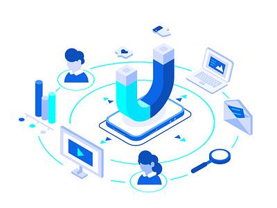 Inbound marketing concept email laptop magnet internet blogging content marketing statistic analytics landing page web page like social media blog crm seo marketing inbound marketing vector illustration design