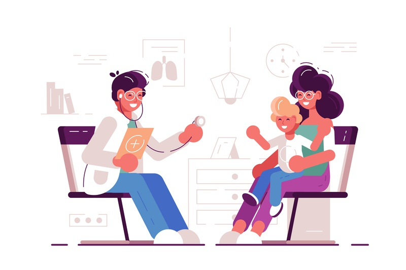 Pediatrician. Mom with the child at the family doctor. stethoscope nurse sick hospital mother pediatrician healthcare parents kid patient reception medicine aid clinic female male boy doctor character illustration