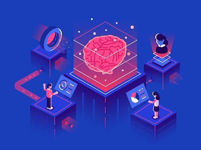 Artificial intelligence chat bot cyborg development big data machine learning mind futuristic robot brainstorming brain artificial intelligence ai isometric office flat business people vector character design illustration