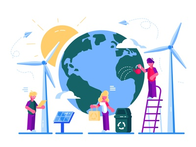 Save The Planet! global vegan eco nature care ecology world trashcan plastic recycle green energy save earth day earth flat vector character design illustration