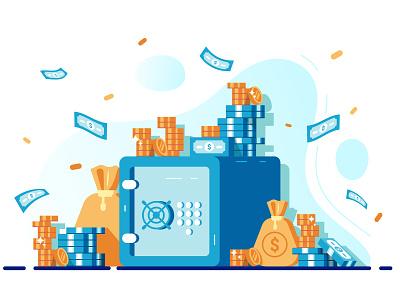 Safe with money money bag banking coupon deposit bank bill dollar protection save money security monet coin bucks cash money safe flat vector design illustration