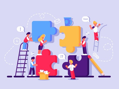 Cooperation concept creativity building people brainstorming work business metaphor cooperation partnership pieces puzzle teamwork team office business people flat vector character design illustration