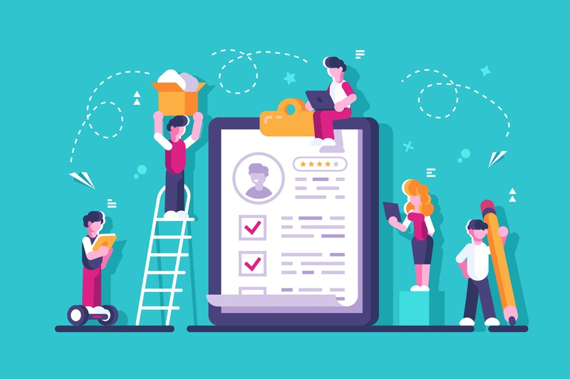 People fill out of a form. human resource questionnaire clipboard checklist form job data work insurance check document policy office team business people flat vector character design illustration