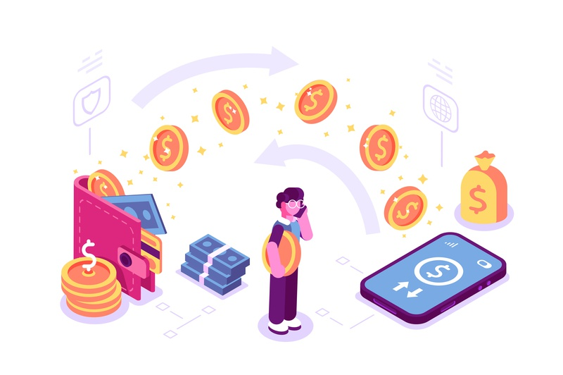 Money transfer concept credit card wallet coin cashback bank pay online payment transfer internet application phone business isometric team flat character vector design illustration