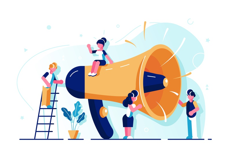 Business advertising promotion concept horn online alert advertisement attention announcement speaker refer marketing megaphone loudspeaker people team office business people flat character vector design illustration