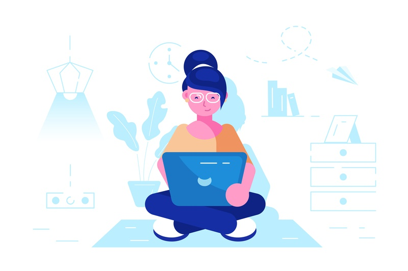 Girl with a laptop at work computer laptop testing feedback support home interior freelance worker employee woman business people office business people flat character vector design illustration