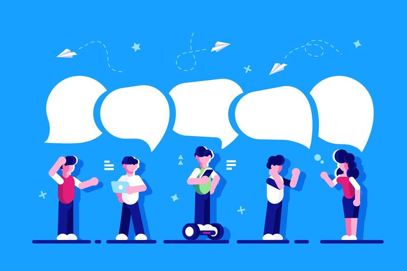 Discussion phone chatting online messenger network social media speech bubble dialogue chat teamwork business team people office business people flat character vector design illustration
