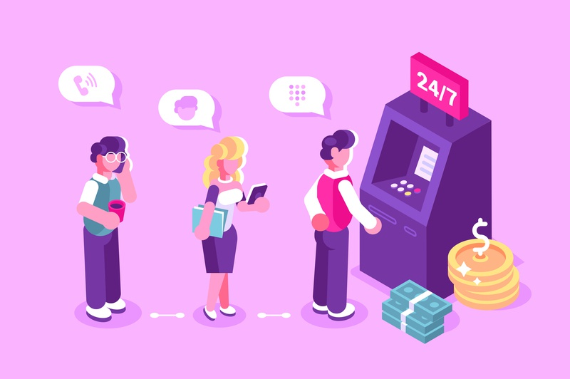 Queue at the ATM terminal payment credit card machine dollar coin banknote cash money crowd atm people office business people flat character vector design illustration