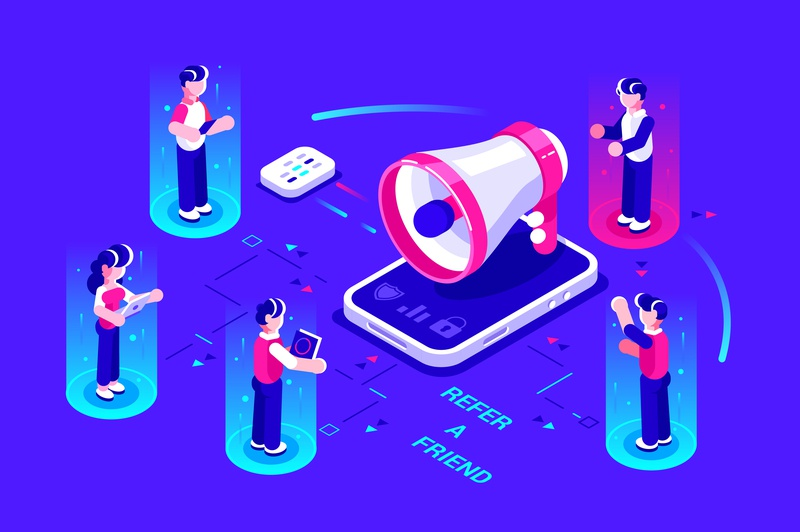 Refer a friend concept announcement megaphone referral refer online marketing employee internet application phone chatting isometric business people business people flat character vector design illustration