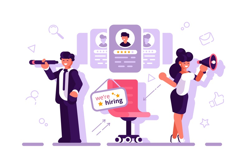 We are hiring concept employee businessman wanted vacancy recruit hire hiring human resource hr manager business team people office business people flat character vector design illustration
