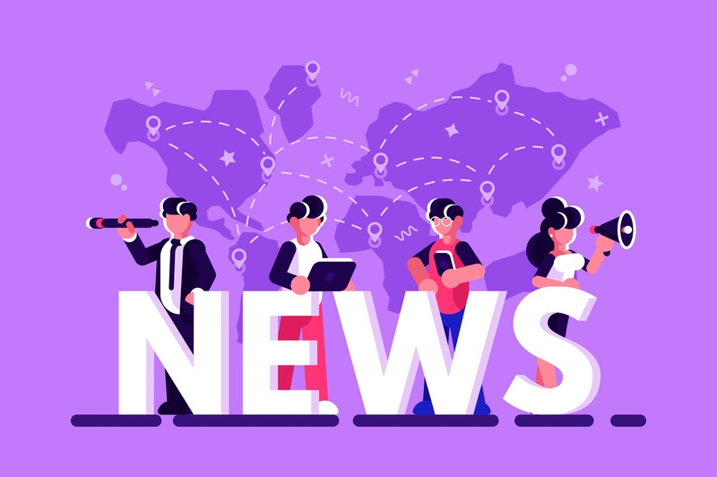 World news concept newspaper television social redio channel press media news world internet business team people office business people flat character vector design illustration