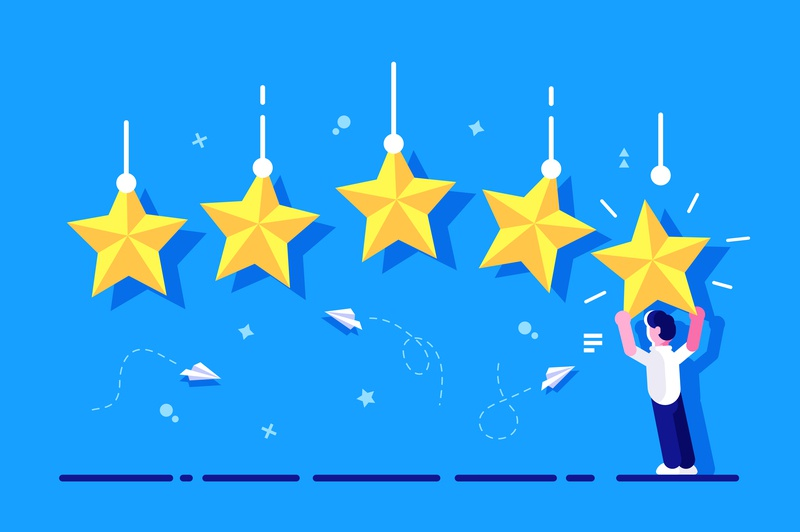 Star rating concept good star customer appraisal feedback result rank best rate quality application phone business business people flat character vector design illustration