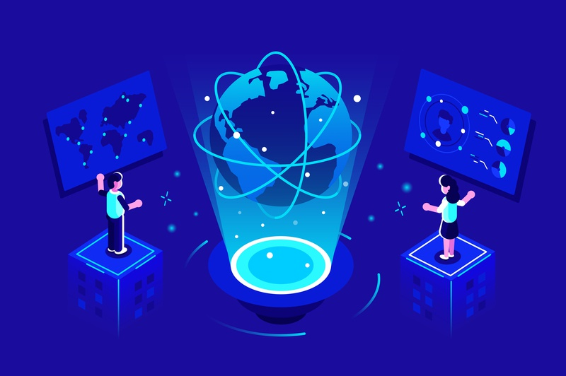 Global communication concept space worldwide global data analytics data center big data internet planet earth isometric business team people office business people flat character vector design illustration