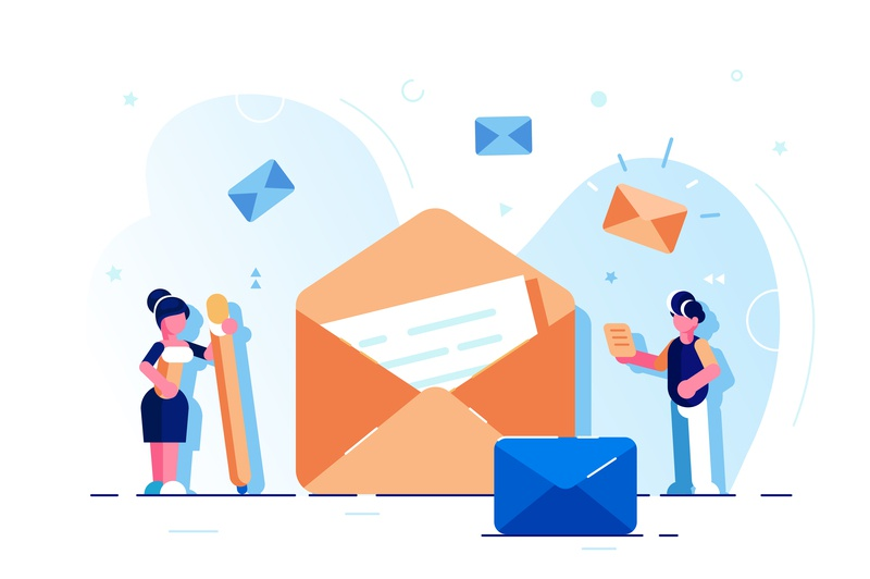 Email service email e-mail chat design character illustration chatting letter message marketing social media email marketing vector communication mail line email app app landing page business people