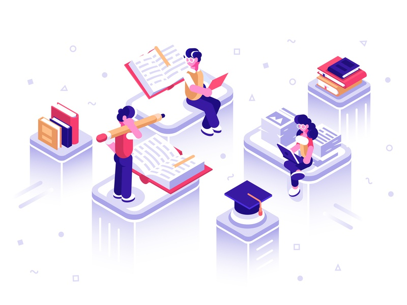 Online library literature read dictionary school book archive web education media online library application phone isometric people flat character vector design illustration