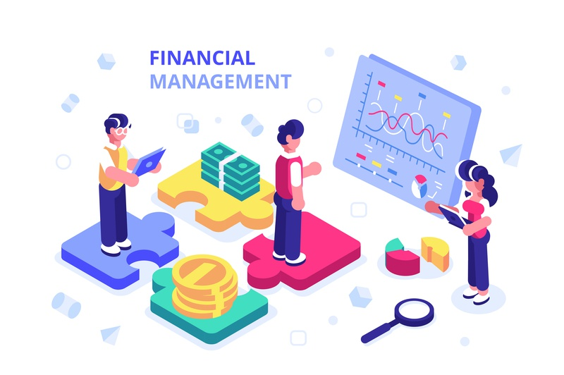 Financial management diagram consulting budget analysis banking finance investment teamwork chatting isometric business team office people business people flat character vector design illustration