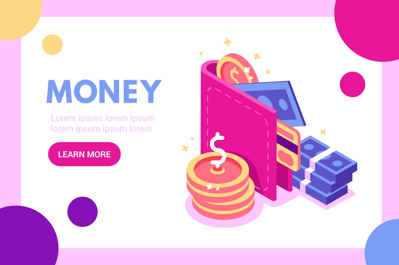 Money concept deposit crypto commerce buy web page business bank finance payment economy app cash credit card coin wallet money flat vector design illustration