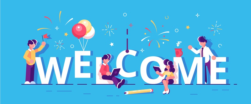 Welcome banner concept member worker happy work colleagues welcome marketing employee teamwork chatting business team office people business people flat character vector design illustration