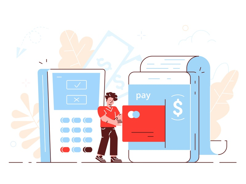 Online payment app cash terminal bank pos credit card money pay internet application phone business people business people flat character vector design illustration