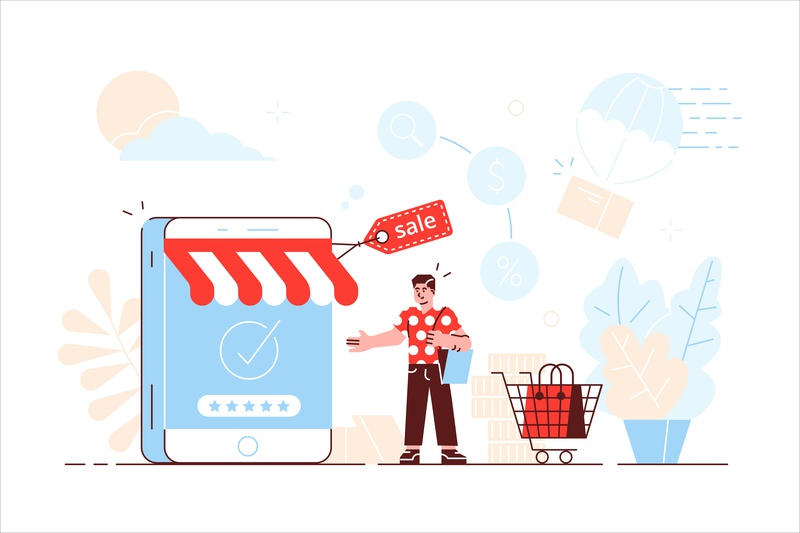 Online shopping smartphone shopping internet ui sale online shop marketing app application phone business people office business people flat character vector design illustration