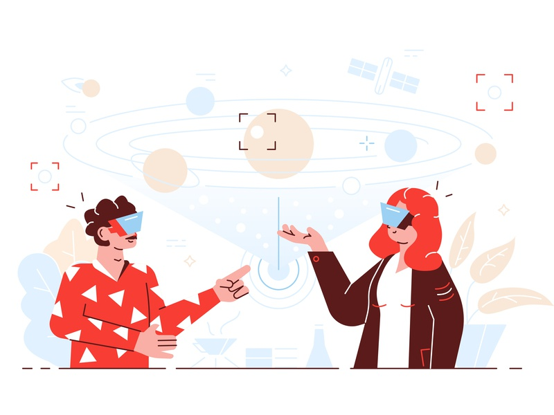 Virtual reality virtual teacher school virtual reality glasses vr student scince solar system education business team office people business people flat character vector design illustration