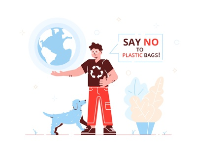 Say no to plastic! man green poster forbidden stop recycle reuse reduce polution shopping enviroment ecology eco bag plasctic flat character vector design illustration