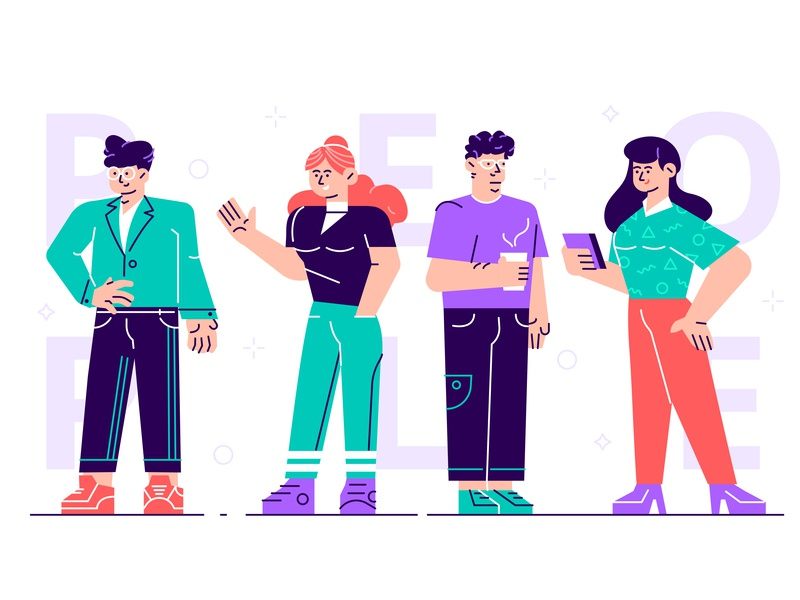Characters female male human boy girl employee manager job woman man phone business team people business people flat character vector design illustration
