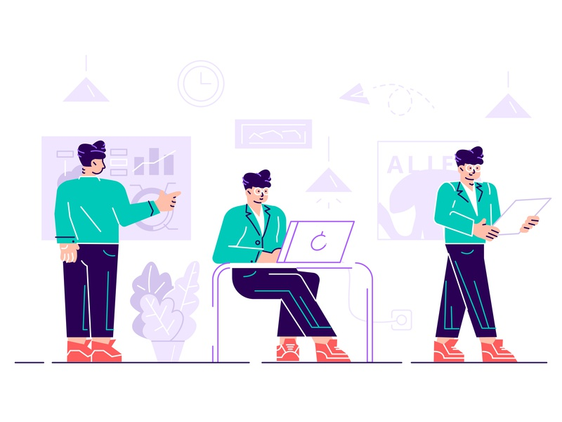 Character at office work boy male guy man hr manager worker laptop online employee phone business office people business people flat character vector design illustration