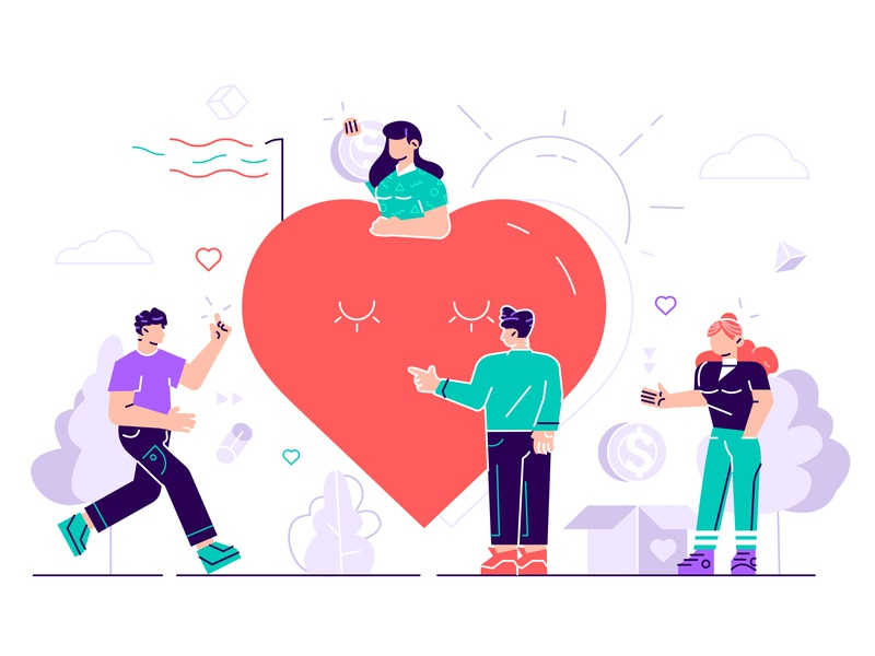 Charity concept illustration design character vector flat team sharing hope volunteering volunteer homeless love heart donation help community people care hope social aid