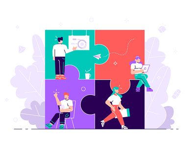 Teamwork illustration design character vector flat business people office team teamwork puzzle pieces partnership cooperation metaphor business work brainstorming people building creativity