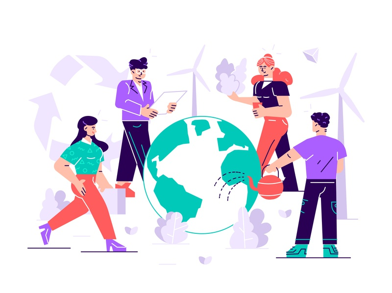 Reduce! Reuse! Recycle! illustration design character vector flat earth earth day save energy green recycle plastic trashcan world ecology care nature eco vegan global