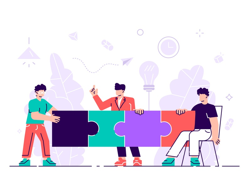 Partnership concept illustration design character vector flat business people office team teamwork puzzle pieces partnership cooperation metaphor business work brainstorming people building creativity
