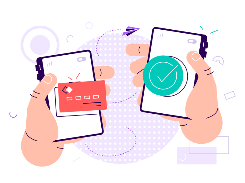 Money Transfer Concept app send payment phone mobile fast exchange crypto bitcoin easy smart money transfer transfer credit card money giant hand vector design illustration