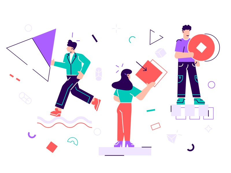 People collecting and organizing abstract geometric shapes shape together teamwork geometric design texture circle organisation triangle abstract geometric team business office people business people flat character vector design illustration