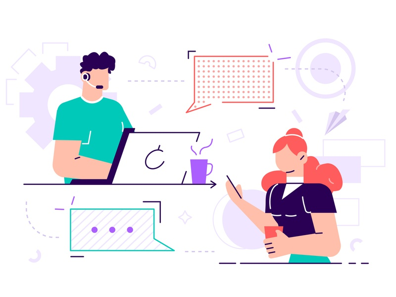 Online technical support 24-7 concept assistance hotline service chat agent help customer client virtual support phone business office people business people flat character vector design illustration
