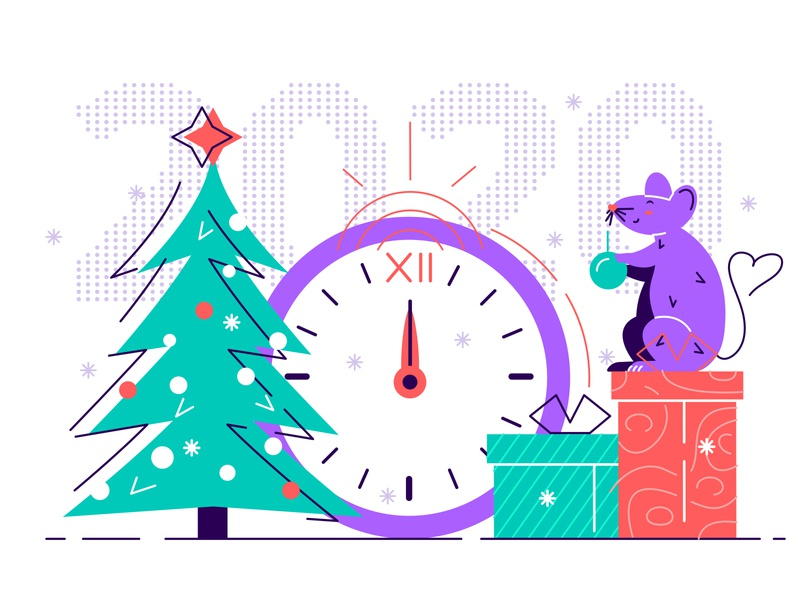 Happy New Year 2020. Cute smile rat decorate Christmas Tree holiday happy holidays flat line style stroke of midnight clock gifts new year 2020 2020 christmas tree merry christmas chinese new year new year christmas happy new year rat character vector design illustration