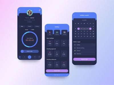 Sesame App - Time Tracker app timetracker design creativity application ui application design application dark dark ui ux ui elegant ux design ui design