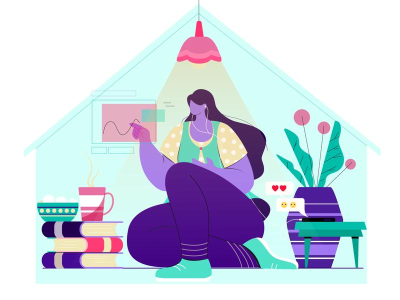 stay home colors vector leaves digital design concept character design flat vector illustration